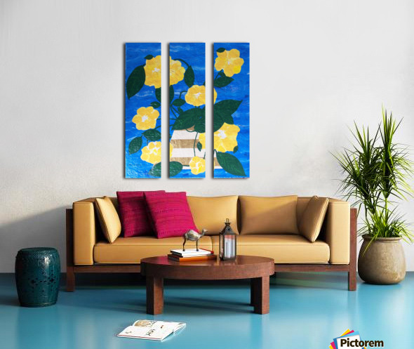 Yellow flowers in vase  Split Canvas print