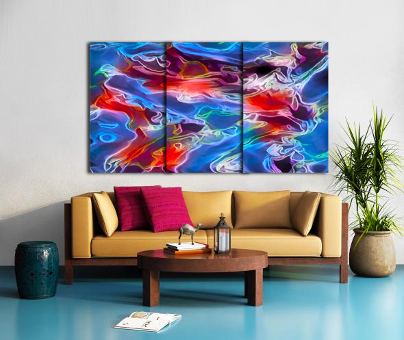 Blue Flames - multicolor abstract swirls Split Canvas print
