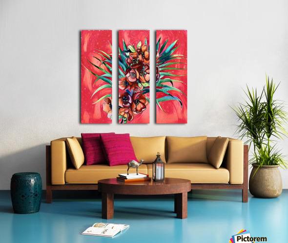 Vibrant Colors Tropical Floral Split Canvas print