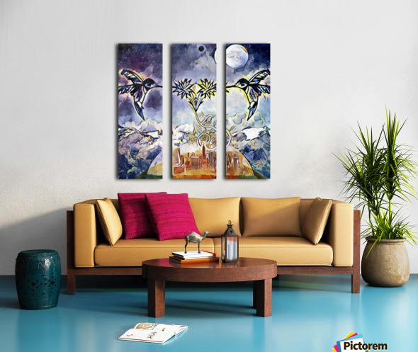 Two hummingbirds in the sky eating nectar nearby a domed city Split Canvas print