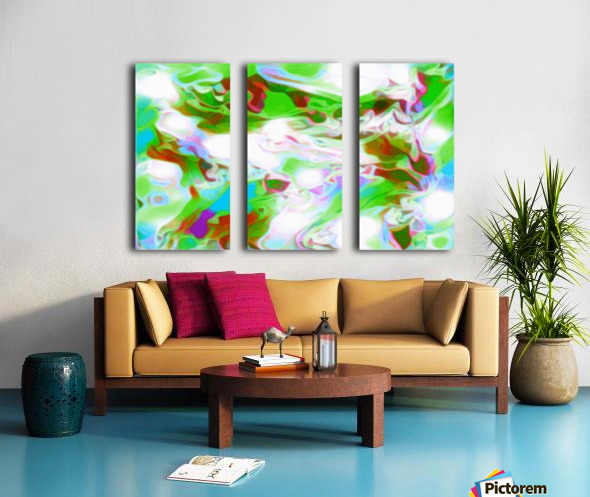 Green Glass Window - multicolor abstract swirls wall art Split Canvas print