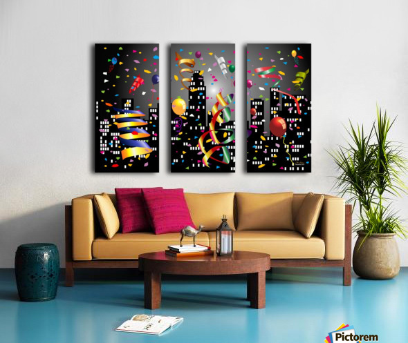 1-Nighttime Celebration in the Big City Split Canvas print