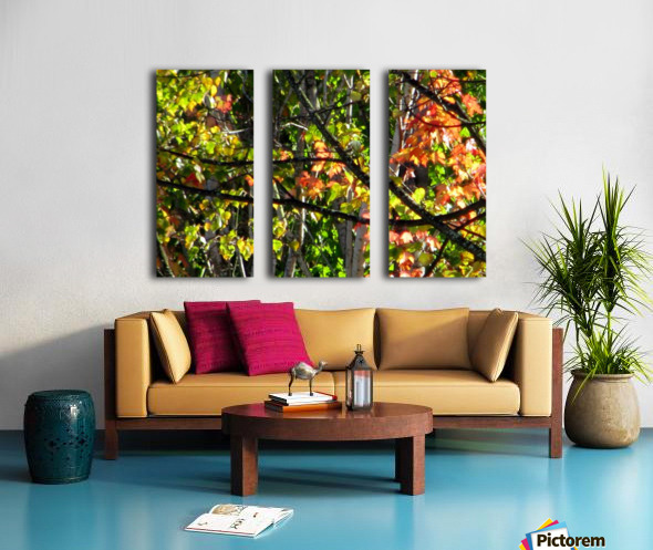 Stained  Glass Autumn Split Canvas print