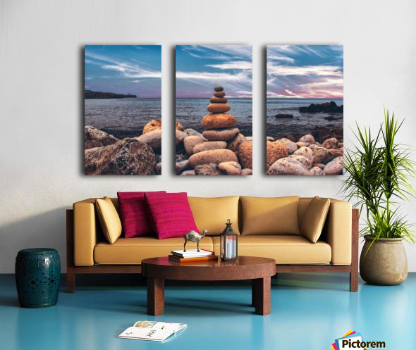 Rock balancing  Split Canvas print
