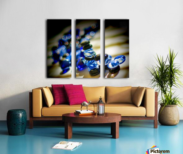 Blue Mosaic Glass Gems Split Canvas print