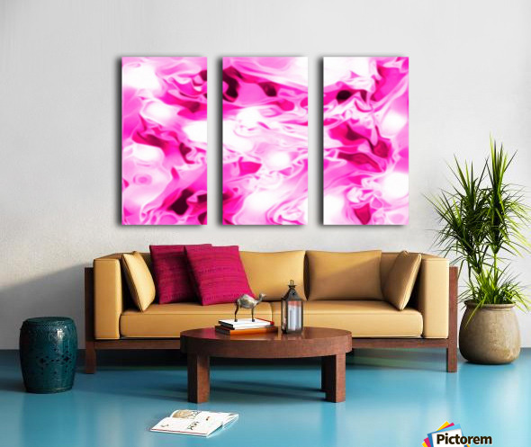 Roses with Vanilla Ice Cream - pink white red large abstract swirl wall art Split Canvas print