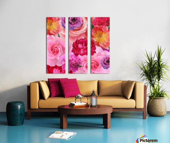 Flower abundance. Pink floral background. Split Canvas print