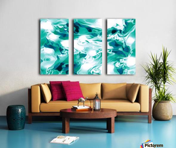 Mint Chocolate Chip Ice Cream - turquoise white blue black swirls large abstract wall art Split Canvas print