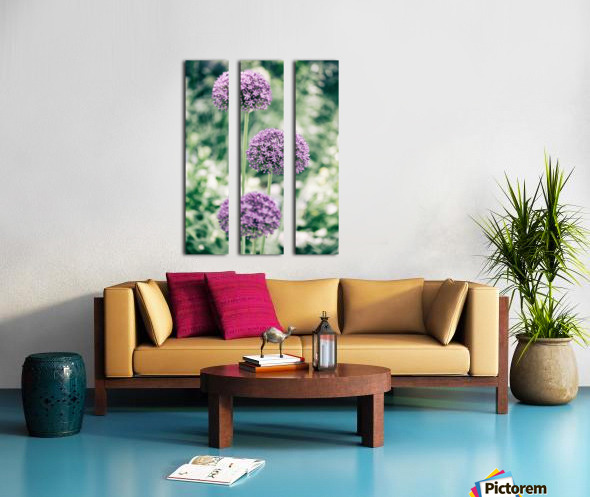 Three Purple Flowers Split Canvas print