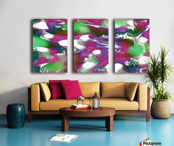 Plums & Lime with Mint Leaves - purple green white swirls and spots large abstract wall art Split Canvas print