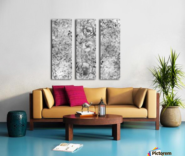 Shades of grey floral abstract  Split Canvas print