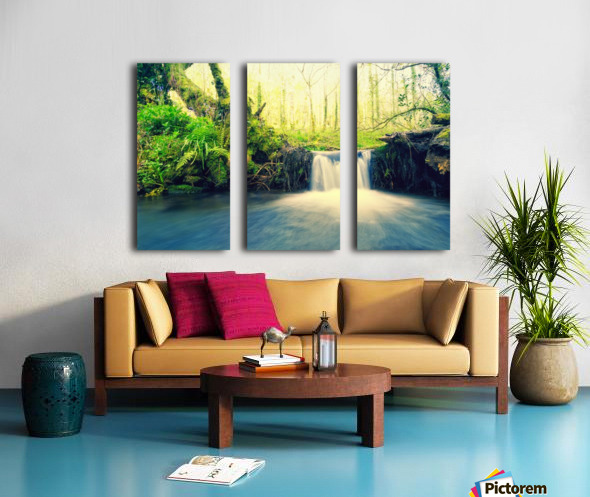 waterfall river nature forest  Split Canvas print
