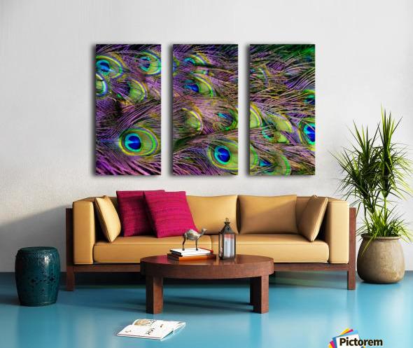green purple and blue peacock feather digital wallpaper Split Canvas print