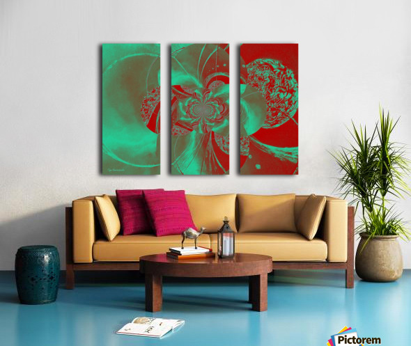 Emerald and Red Circular Patterns Split Canvas print