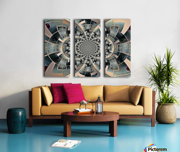 Graphic Ornamental Silver Split Canvas print