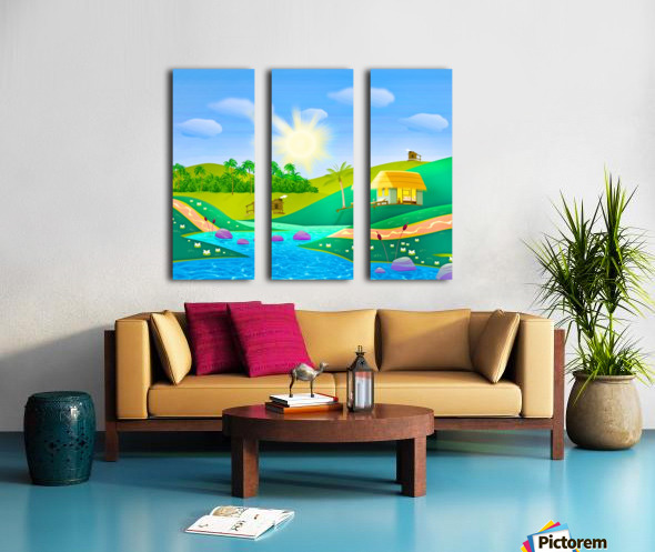 tropical resort huts lake river Split Canvas print