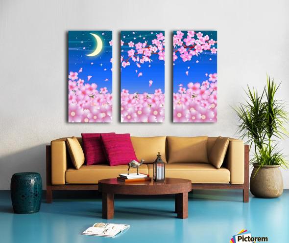 sakura cherry blossom night moon Split Canvas print