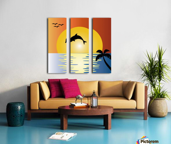 ocean sunset dolphin palm tree Split Canvas print