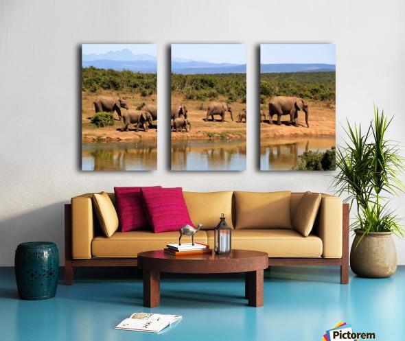 elephant herd of elephants Split Canvas print