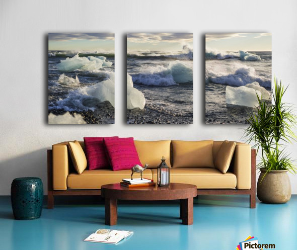 Ice bergs on Jokulsarlon beach Iceland Split Canvas print