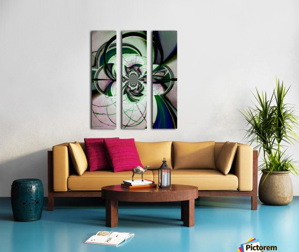 Broken Symmetry Teal Split Canvas print