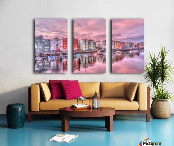 trondheim norway sunrise river Split Canvas print