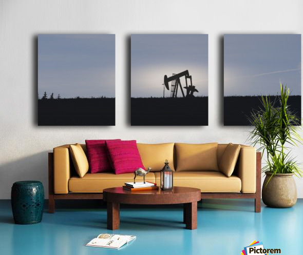Pumpjack Oil Rig Split Canvas print