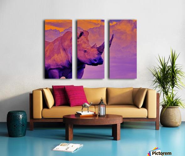 White Rhino orange purple Split Canvas print