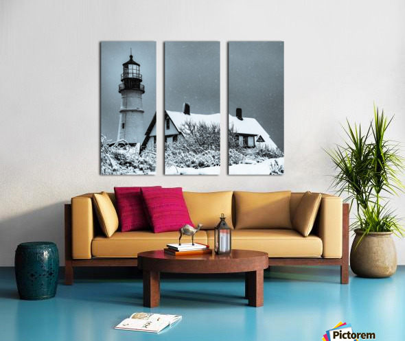 Snowing at Portland Head Lighthouse Split Canvas print