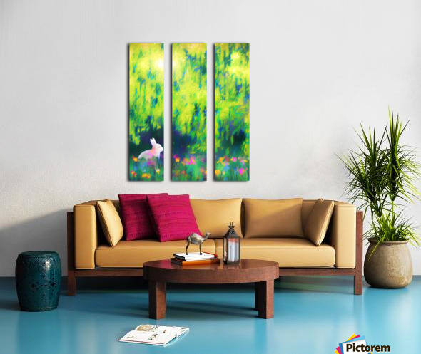 Bunny beneath the Willow Tree Split Canvas print