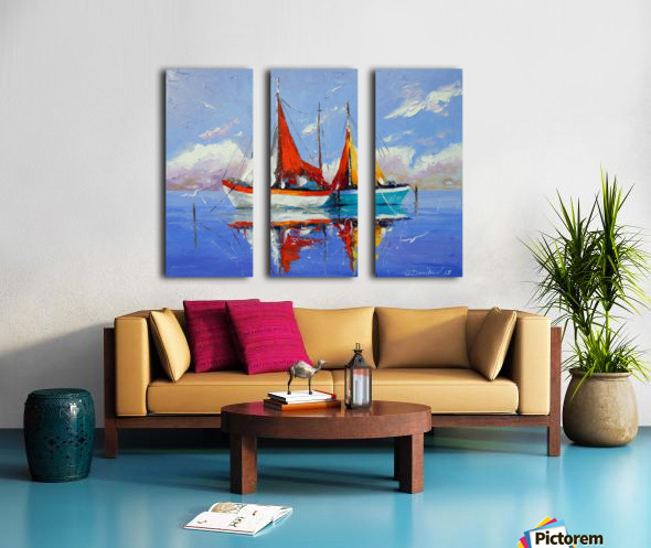 Sailboats in the sea Split Canvas print