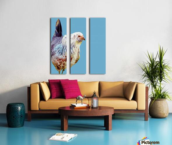 chicken pop art blue Split Canvas print