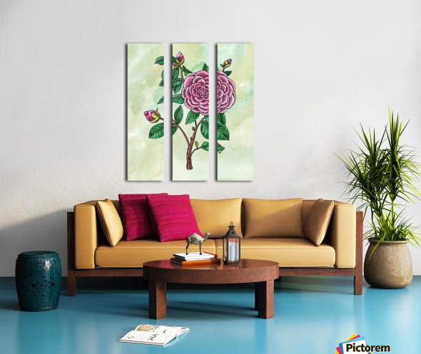 Botanical Watercolor Japanese Camellia Flower  Split Canvas print