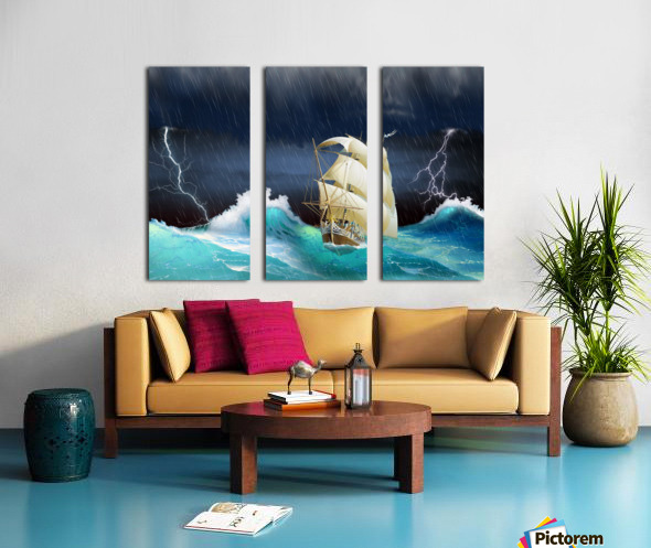 Dangerous journey sailing ship.  Split Canvas print