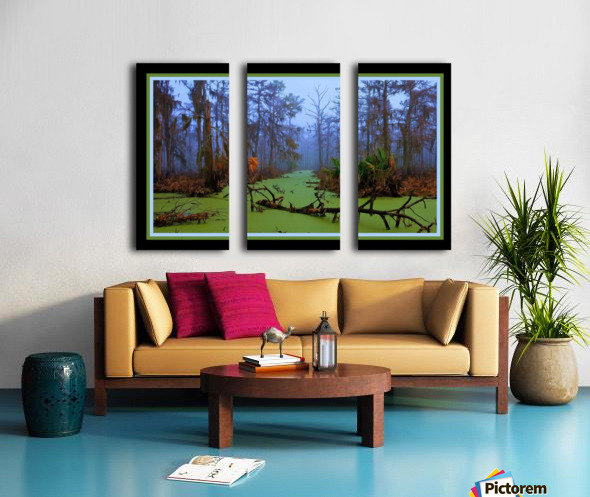 Jurassic Swamp  - HDR - Double Matted and Framed Split Canvas print