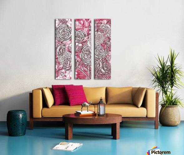 Watercolor Botanical Flowers Garden Pink Flowerbed V Split Canvas print