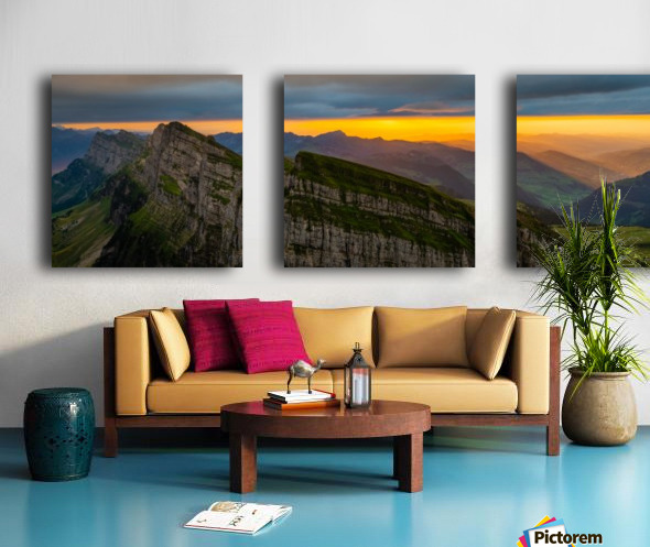 sunset at Chäserrugg Split Canvas print
