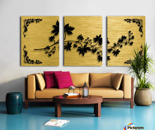 Gold illustration for interior decoration 3 Split Canvas print