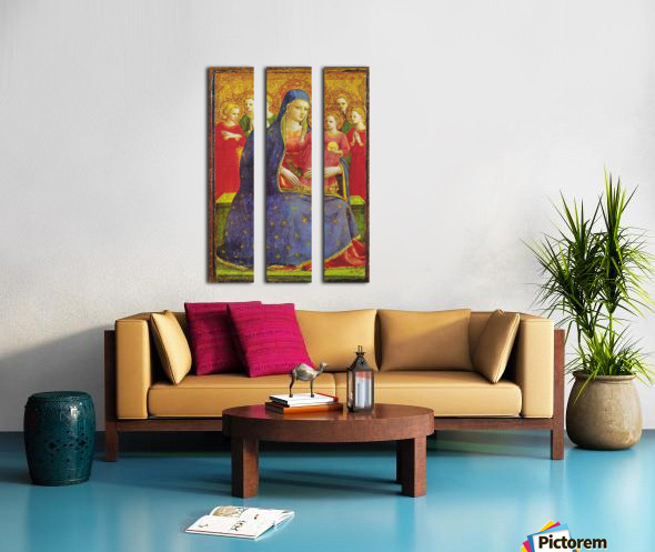 Virgin with the child and four angels Split Canvas print