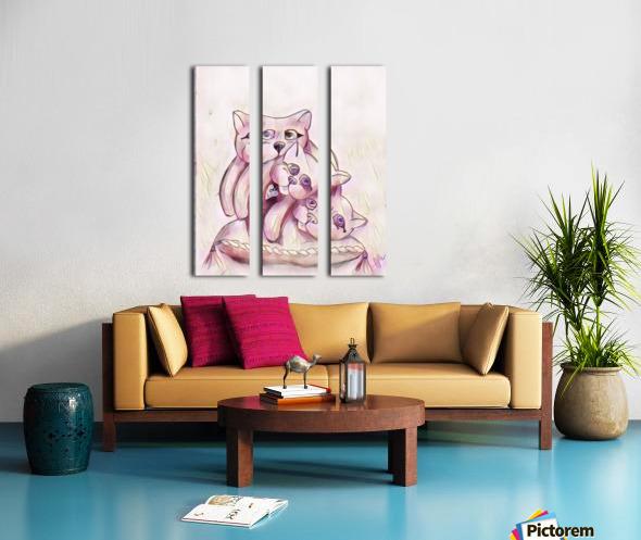 Chats sur coussin Split Canvas print