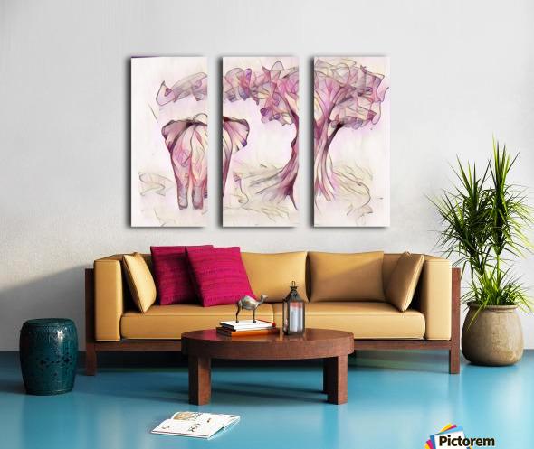 Léléphant sous larbre Split Canvas print