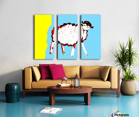 Little Aussie Sheep - Blue Split Canvas print