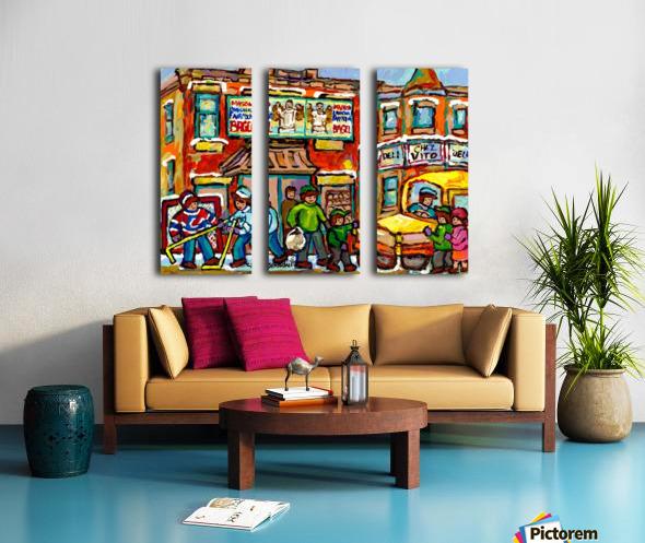 FAIRMOUNT BAGEL MONTREAL PAINTING CHEZ VITO WINTER CITY SCENE Split Canvas print