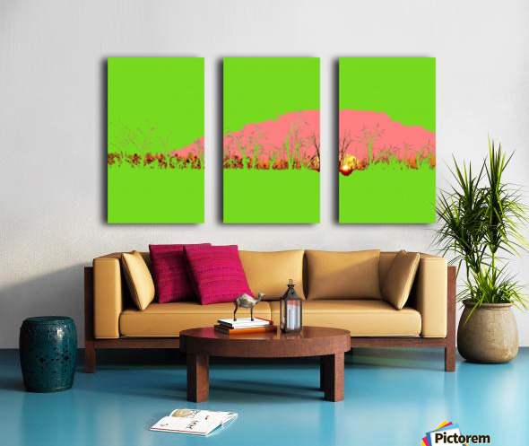 Lake Sunset - Green Split Canvas print