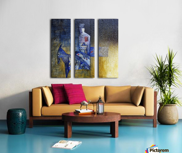 blue horserider 2 Split Canvas print