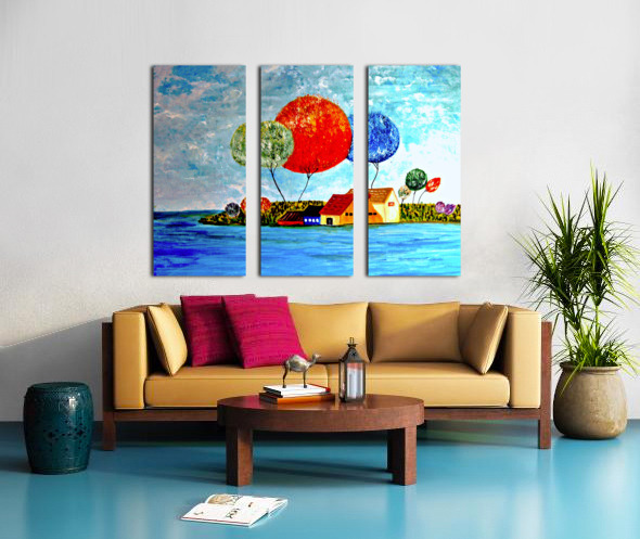 The Fishing Village Split Canvas print