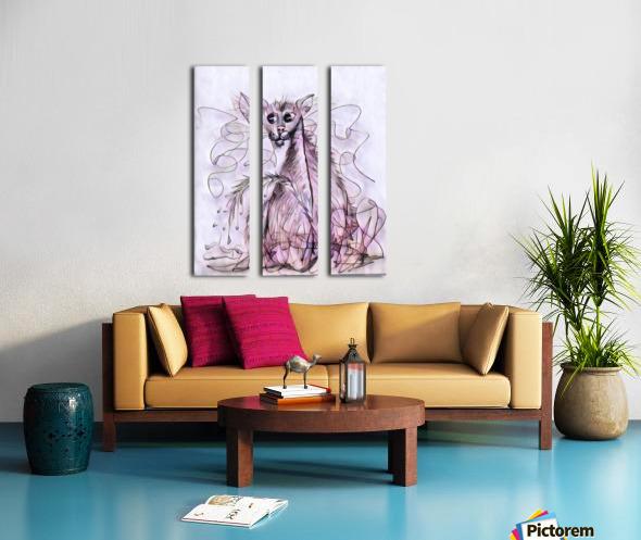 chat mouillé Split Canvas print