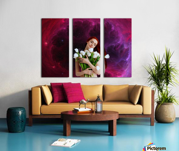 Girl with tulips. Madonna 3 Split Canvas print