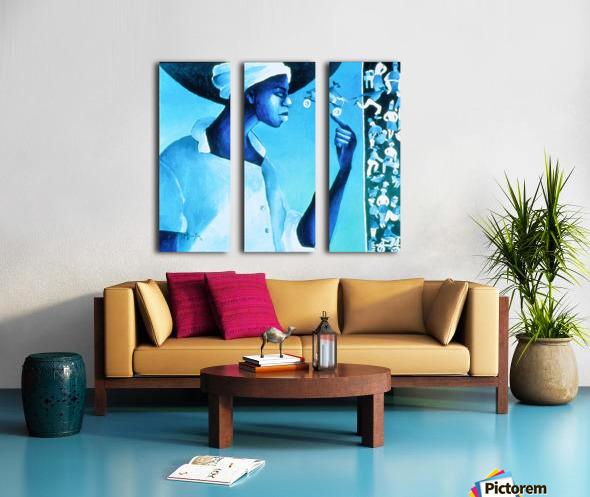 vélo bleu Split Canvas print
