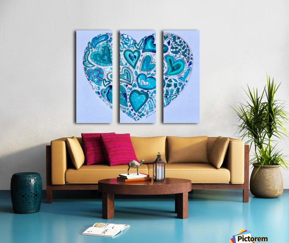 Blue Hearts Split Canvas print
